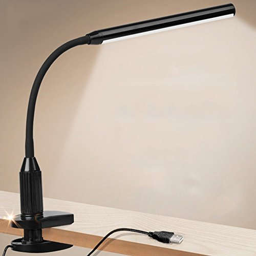 Lelife Clip On Light5WScrew ClampWith DimmerTouch Sensitive ControlWith Memory FunctionPerfect Reading light Clamp On Lamp For Clip On HeadboardBlack Color