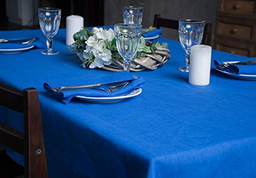 - Blue Linen Tablecloth for Dining Table