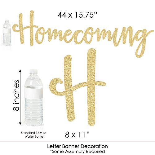 HOCO Dance - Homecoming Letter Banner Decoration - 36 Banner Cutouts and No-Mess Real Gold Glitter Homecoming Banner Letters by Big Dot of Happiness (Image #4)