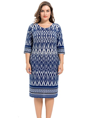Dress Cashmere Womens (Chicwe Women's Plus Size Stretch Zigzag Printed Cashmere Touch Shift Dress - Knee Length Casual and Work Dress Navy 3X)