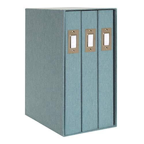 DesignOvation Cydney Set of 3 Large Fabric Albums in Display Box, Holds 4x6 Photos, 300, Teal