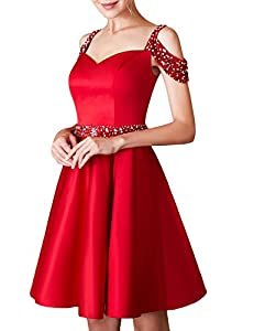 Jicjichos Women's Short Beaded Homecoming Dress Off The Shoulder Backless Cocktail Dress with Pocket BBON001