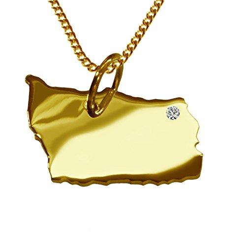 Endroit Exclusif Bornholm Carte Pendentif avec brillant à votre Désir (Position au choix.)-avec Chaîne-massif Or jaune de 585or, artisanat Allemande-585de bijoux