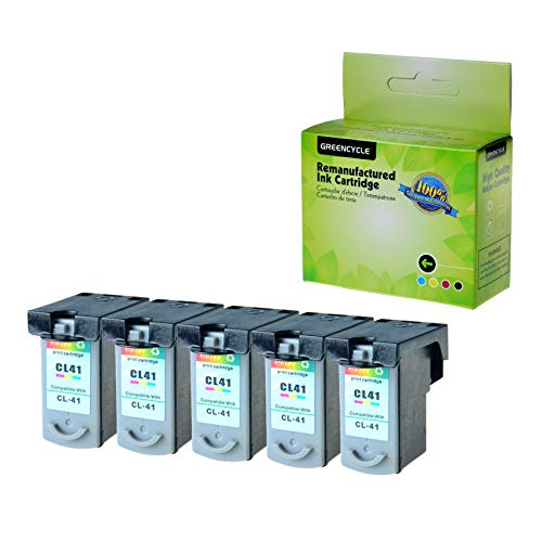 GREENCYCLE 5 Pack Remanufactured CL41 CL-41 Tri-Color Ink Cartridge Compatible with Canon FAX JX200 PIXMA iP1600 iP1800 MP180 MP450 MX310 Printer