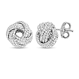 Charmsy Sterling Silver Jewelry Diamond-Cut Love Knot Stud Earrings for Women