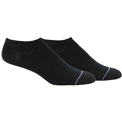 adidas Men's Originals No Show Sock (2 Pack), Large, Black/Onix
