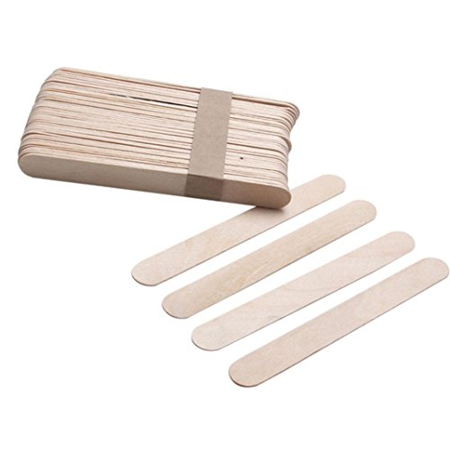 e Wide Wood Wax Sticks,SMYTShop Wax Applicator Craft Sticks for Hair Removal Eyebrow Wood Spatulas Applicator 6