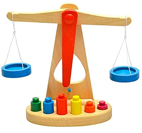 OWIKAR Wooden Toy Baby Kids Educational Toys Balance Beam Scale Early Education Learning Toys With 6 colorful Weights Enlightenment Intelligence Toy For Boys Girls Children Age 3 and - Folding Horse Stable Wood