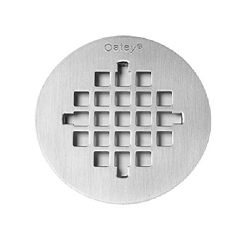 Oatey 42005 4-1/4-in Round Snap-Tite Strainer, Stainless - Drain Shower 1/4 Cover