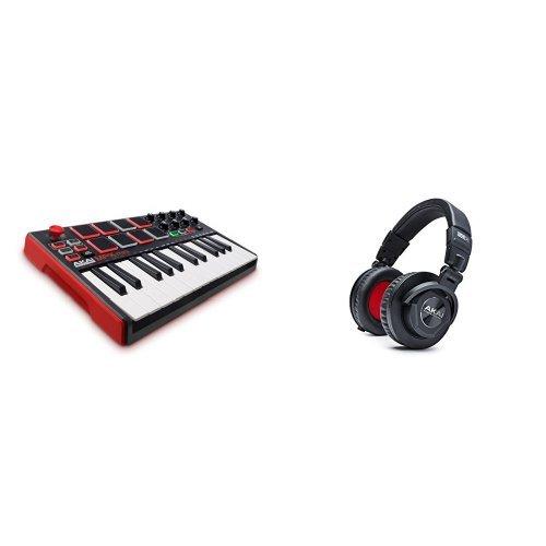 Akai Professional MPK Mini MKII 25-Key USB Midi Controller with Akai Professional Project 50X Over-Ear Studio Monitor Headphones by Akai Professional