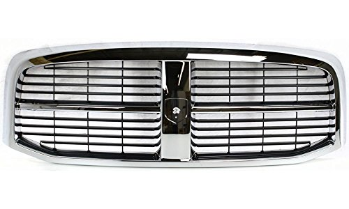 Evan-Fischer EVA17772021837 Grille for Dodge Full Size P/U 06-09 Horizontal Bar Insert Plastic Chrome Shell/Painted-Black Insert New Body Style Replaces Partslink# CH1200282