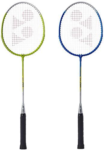 Yonex GR 201 Pack of 2 Aluminum Strung Badminton Racquet Blue/Lime  with Head Cover