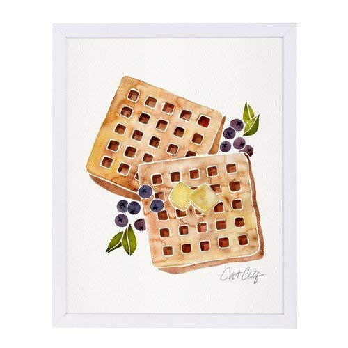 Americanflat Blueberry Breakfast Waffles White Frame Print by Cat Coquillette 9 x 11 x 1 [並行輸入品]   B07GZHCMJQ