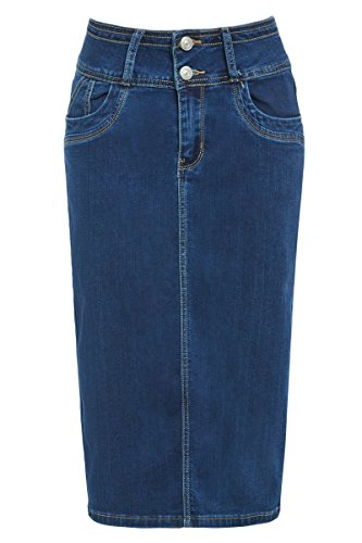 Nouveau Denim Jupe Crayon Femmes Jupe Tube Extensible Taille 34 36 38 40 14 16 Indigo