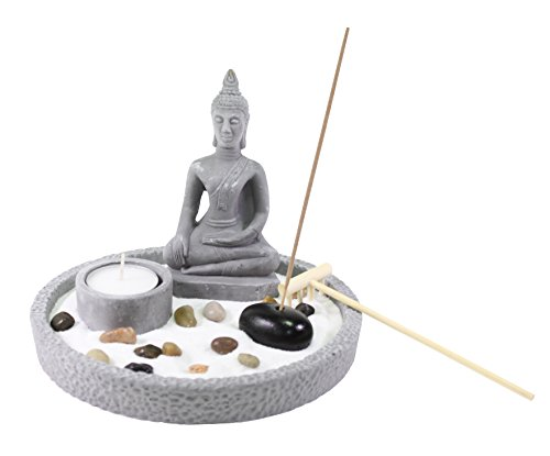 (Tabletop Buddha Statue Zen Garden with Sand Rock Rake Candle Holder Incense Burner Home Decor)