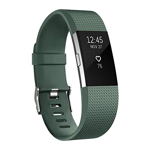 POY Replacement Bands Compatible for Fitbit Charge 2, Classic & Special Edition Sport Wristbands, Olive Green, Large, 1PC