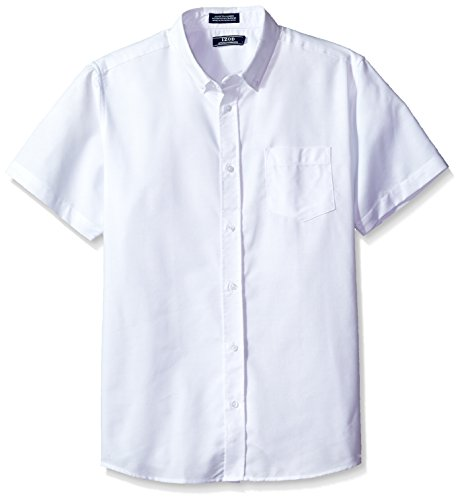 IZOD Uniform Young Men's Short Sleeve Oxford Shirt, White, M