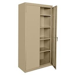 Sandusky Lee CA41361872-04, Welded Steel Classic Storage Cabinet, 4 Adjustable Shelves, Locking Swing-Out Doors, 72\