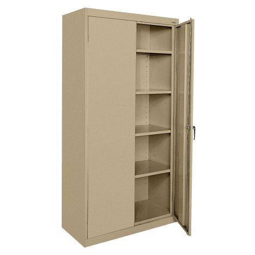 - Sandusky Lee CA41361872-04, Welded Steel Classic Storage Cabinet, 4 Adjustable Shelves, Locking Swing-Out Doors, 72