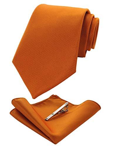 JEMYGINS Orange Formal Necktie and Pocket Square, Hankerchief and Tie Bar Clip Sets for Men