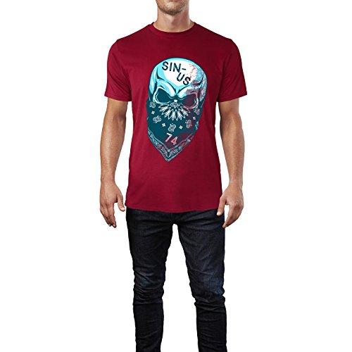 SINUS ART® Vermummter Totenkopf Herren T-Shirts in Independence Rot Fun Shirt mit tollen Aufdruck