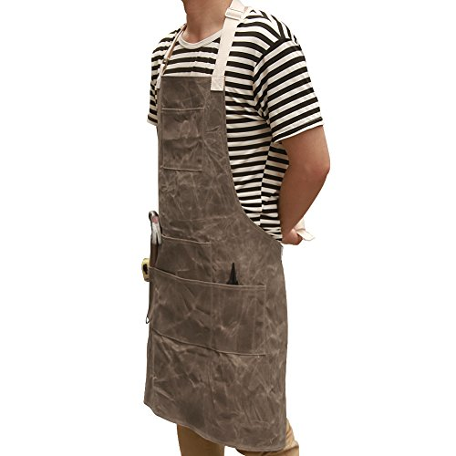 Utility Waxed Canvas Work Apron Multi-Use Shop Aprons with Six Pockets Heavy Duty Waterproof Tool Apron for Men Women (Dark Gray, Adjustable Neck Strap) WQ03-2 by QEES (Image #1)