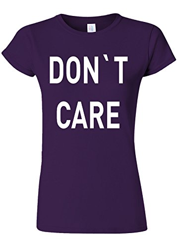 抽象化ライバル爆発するDo Not Care WTF Novelty Purple Women T Shirt Top-S