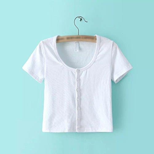 WanYang Mujeres Botón de Manga Corta De La Verano Camiseta Blusa Tops Camisetas Vino