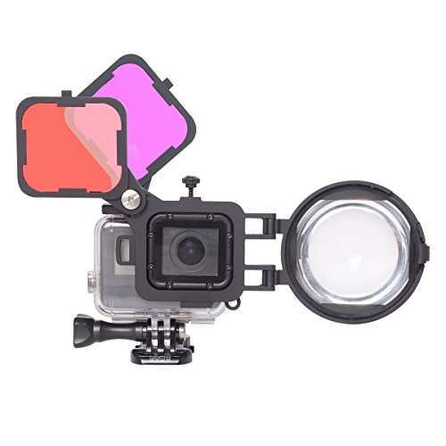 Combo Suit - 3in1 Dive Lens Combo 16X Macro Lens + Red + Magenta Color Correction Filter Set Compatible with GoPro Hero 7 6 5 Black for Tropical Blue/River Lake Green Water Diving Underwater Scuba Photography