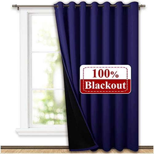 Night Door Curtain - NICETOWN 100% Blackout Patio Sliding Door Curtain, Wide Lined Drape, Keep Warm Drapery, Sliding Glass Door Panel for Night Shift(Dark Blue, 1 Panel, 100 inches Wide x 84 inches Long