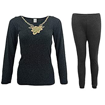 Zmart Australia Mens Womens 2PCS Set Merino Wool Top Pants Thermal Leggings Long Johns Underwear, Women's Flora Set - Black, 12-14