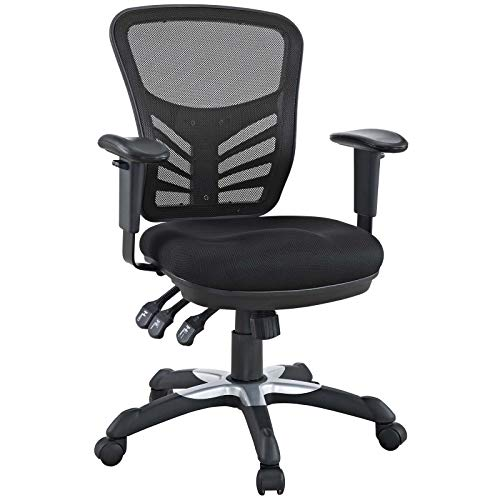 Modway Articulate Ergonomic Mesh Office Chair in Black Brown Multi Function Fabric