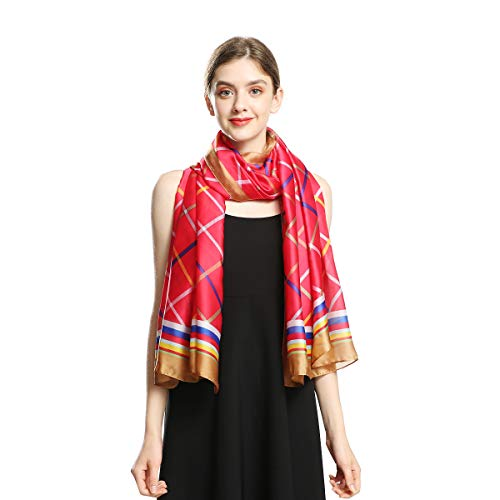 100% Silk Scarfs for Women Large Long Sunscreen Satin Shawls Fashion Lightweight Floral Pattern Scarves for Ladies (Plaid Stripe - Long Silk Stripe Scarf