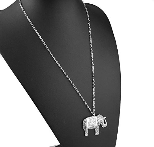Sunward Fashion Simple Retro Elephant Family Pendant Silver Necklace Chain (As ()
