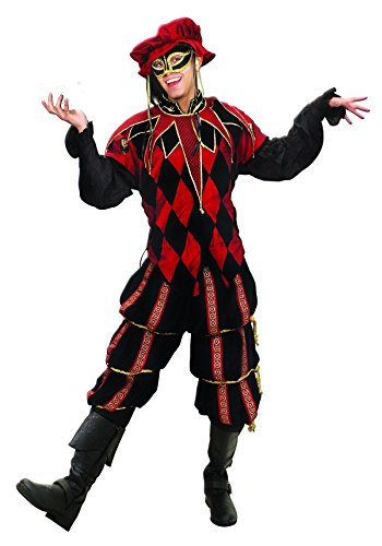 The Dark Jester Harlequin Ensemble Men's Medieval Court Jester Costume (X Large)