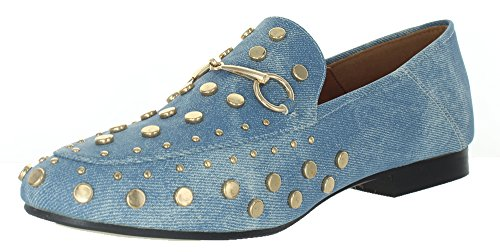 Urban Heels Kandi-06 Womens Spikes Stud Little Heel Pointed Toe Flats Shoes Denim 5xhSB