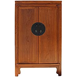 Chinese Brown Stain Wedding Armoire Wardrobe TV Cabinet Acs4154