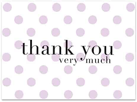 Purple Polka Dot Thank You Cards - 36 Lavender Blank Notes / Note Cards with 36 Envelopes | For Baby & Bridal Shower, Girls, Birthday Party - (Purple Dot)
