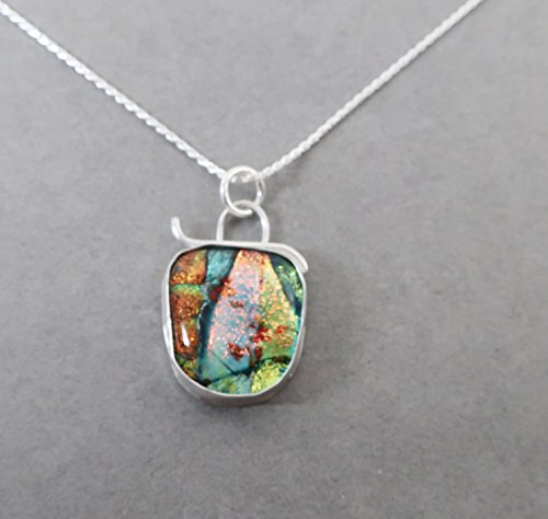 Dichroic Glass and Sterling Silver Beach Sandal Pendant