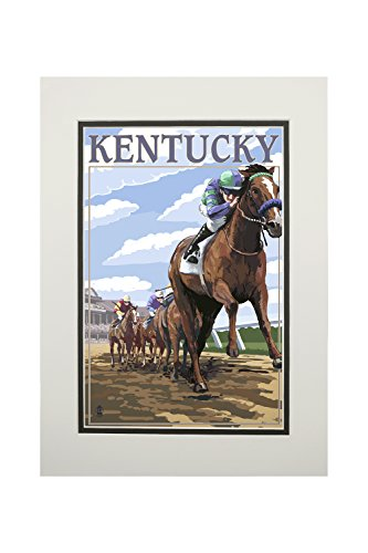 Kentucky - Horse Racing Track Scene (11x14 Double-Matted Art Print, Wall Decor Ready to Frame)