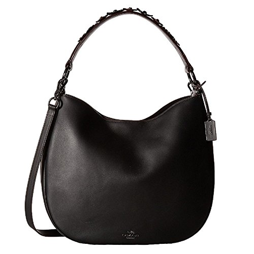 Nickel 55543 COACH Floral Hobo Nomad Black Dark Willow in in azyU0ryg