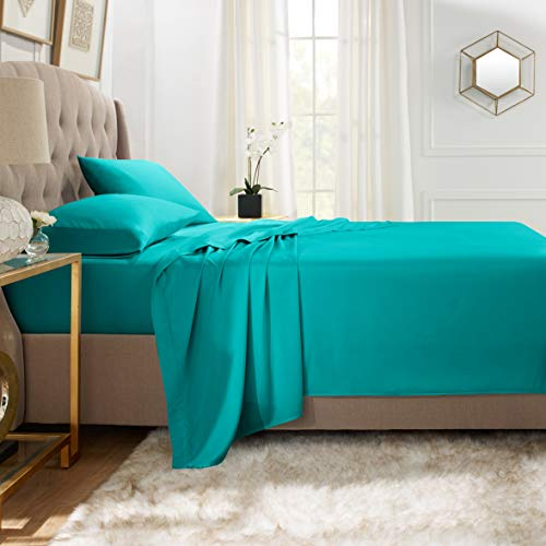 Empyrean Bedding Premium Flat Sheet - 110 GSM Double Brushed Microfiber Extra Thick and Comfortable Flat Sheets, Luxurious & Soft Hotel Single Top Bed Sheet Hypoallergenic, Full, Teal Blue