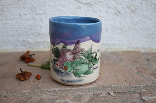 Blue and Purple Koi Fish Clay Cup, handmade pottery teacup (Cups Coffee Japan Stoneware)
