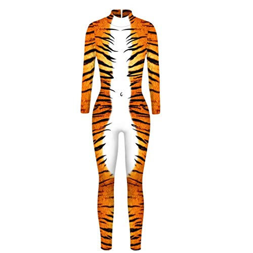 Halloween Jumpsuits Tiger 3D Printed Bodysuit Novelty Skinny Stretch Costume Outfit ()