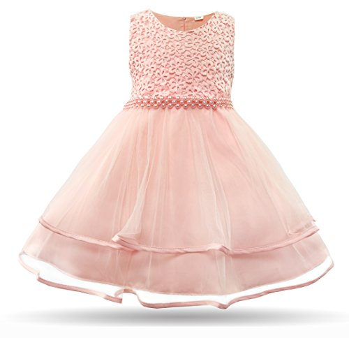 CIELARKO Baby Girls Dress Infant Birthday Wedding Party Dresses for 0-24 Month (0-3 Months, Pink)