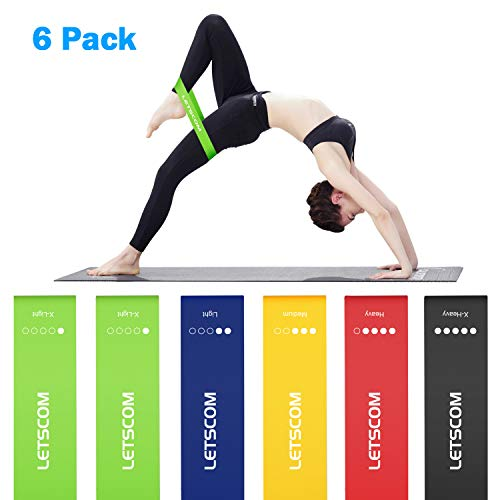 LETSCOM Resistance Loop Bands, Workout Exercise Bands, Fitness Bands for Gym, Squat, Legs, Booty Training, Yoga, Physical Therapy, Elastic Stretching Bands with Instruction Guide Carry Bag