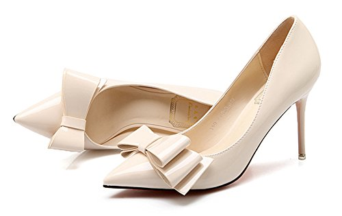 Low With Pumps Aisun Slip Court Dressy Cut Shoes Women's apricot Bow On pqIOz