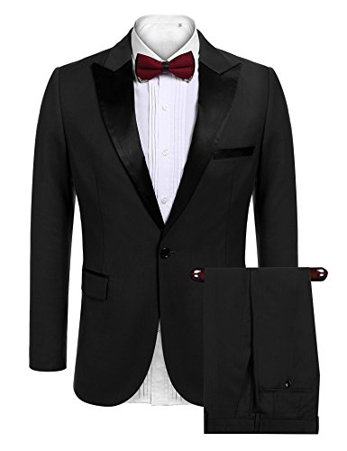 Coofandy Mens Slim Fit 2 Piece Dress Suit One Button Tuxedo Blazer Jacket & Pants Set for Wedding Party Prom Black Small