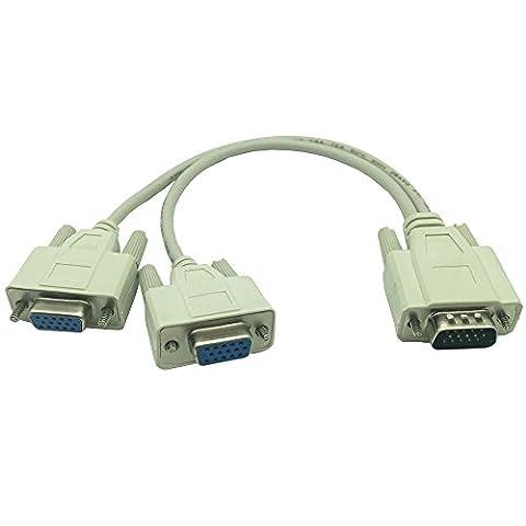 DONG 1 Male VGA to 2 Female VGA Splitter Cable 2 Way VGA SVGA Monitor Dual Video Graphic LCD TFT Y Splitter Cable - Svga Monitor Splitter
