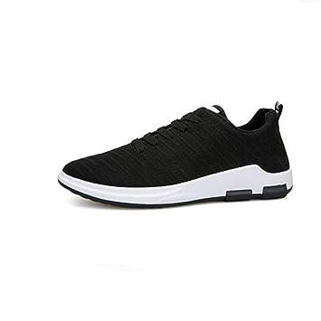 Zapatillas Deportivas con Cordones para Hombre con Suela Suave Zapatillas sin Cordones Antideslizantes duraderas con Suela Dura (Color : Negro, ...